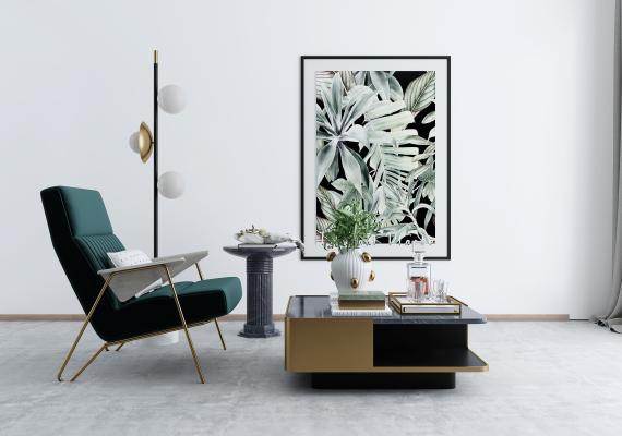 现代休闲椅 装饰画 落地灯