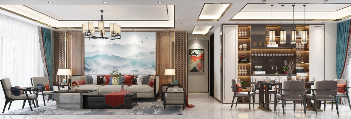 新中式客餐厅 吊灯 挂画