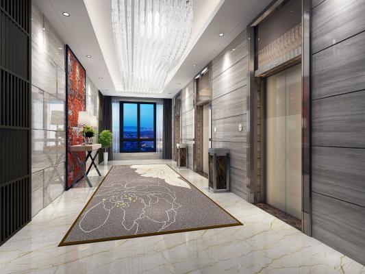 新中式风格电梯间 条几 电梯