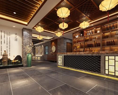 新中式茶楼 大厅 过道