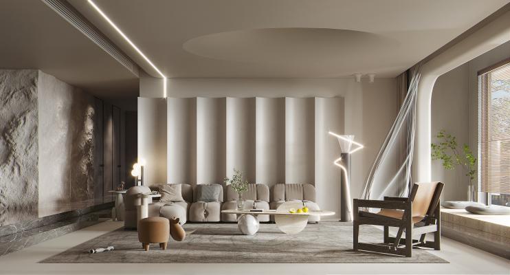 侘寂客厅 布艺转角沙发 茶几 墙饰 石头墙 饰品 落地灯 休闲椅