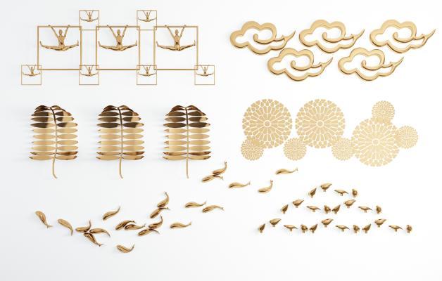 现代轻奢金属树叶鱼小鸟祥云墙饰 挂件组合