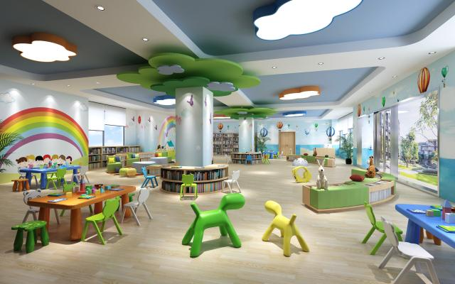 现代儿童娱乐书吧 柱边圆形书柜 儿童书桌椅