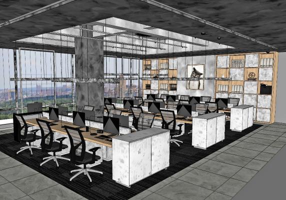工业办公室 员工区 办公桌