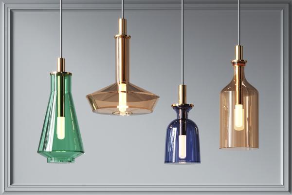 現代彩色玻璃小吊燈組合 創意吊燈 家裝吊燈
