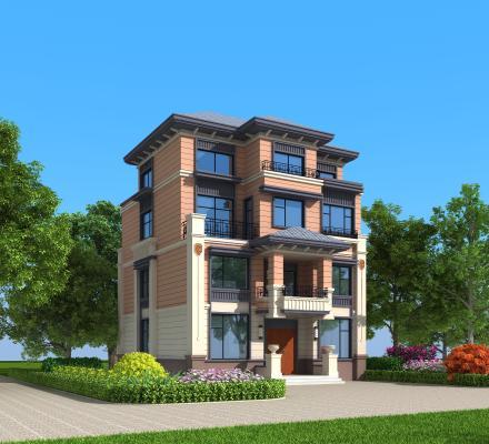 新中式独栋别墅外观 建筑室外