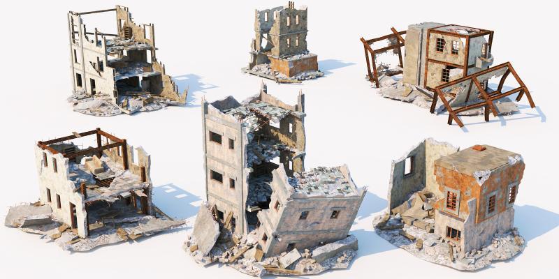 现代工厂废墟 城市建筑 垃圾站