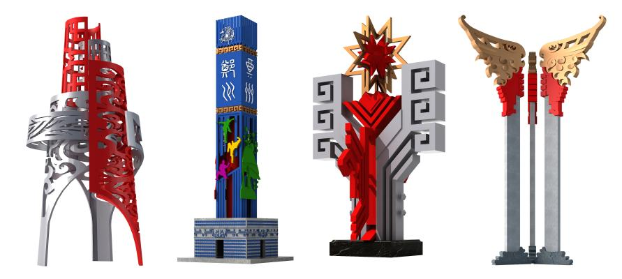 新中式雕塑 广场地标 景观柱子