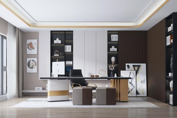现代轻奢书房 黑白书柜 书桌