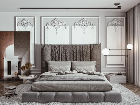 欧式简约双人床组合 双人床