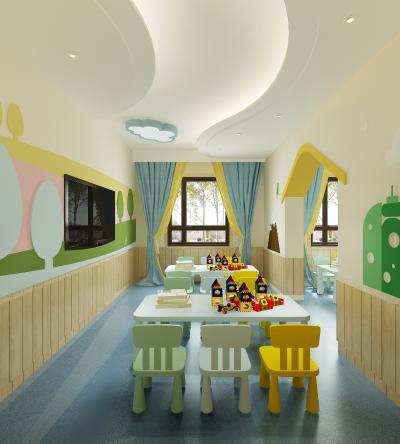 现代幼儿园教室 吸顶灯 玩具柜