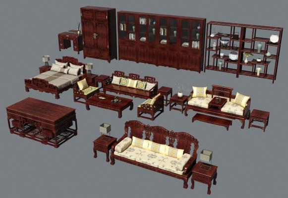 中式红木家具沙发茶几 床 博古架 书柜 衣柜