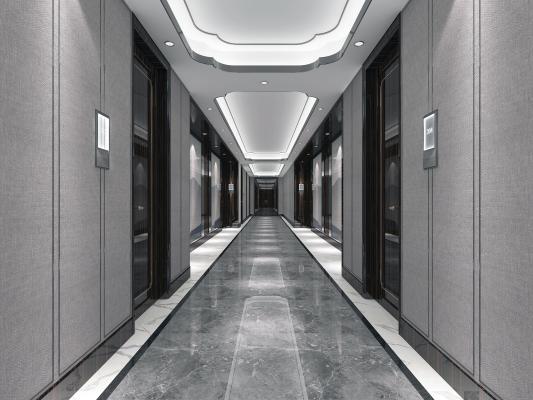 新中式风格酒店走廊 木门 硬包