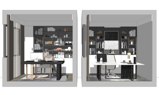 现代书房 书桌椅组合 书柜 装饰柜