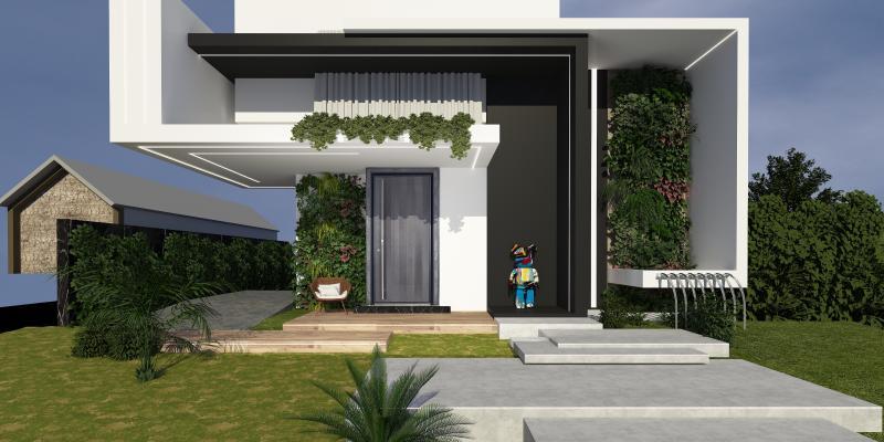 现代别墅 入户大门