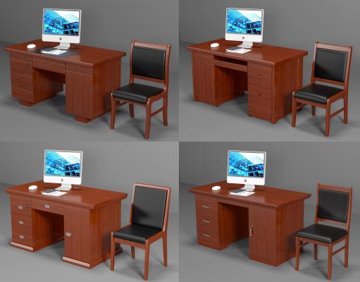 中式实木办公桌椅 木质办公桌椅 单人办公桌椅