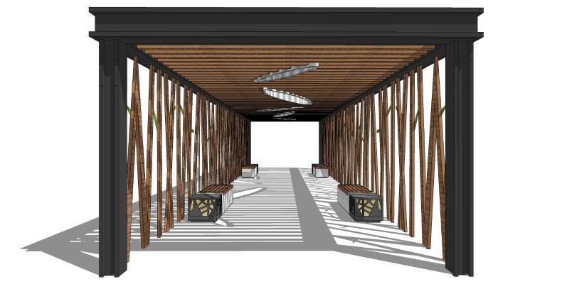 现代廊架 廊亭 长廊