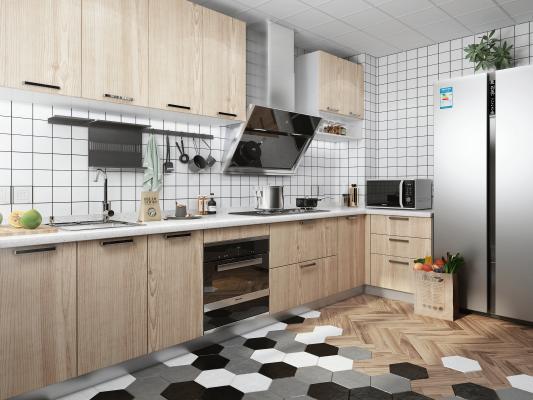 北欧风格厨房 橱柜 油烟机 灶具