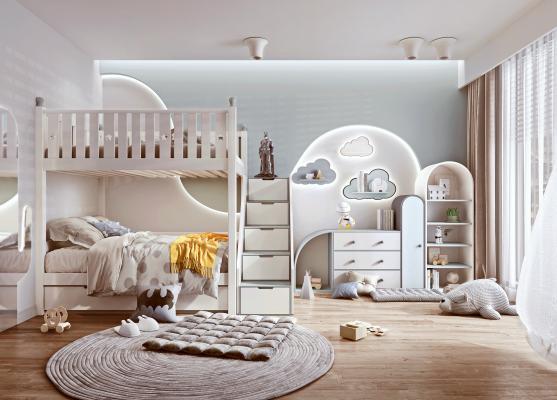 现代儿童房 儿童床 玩具柜