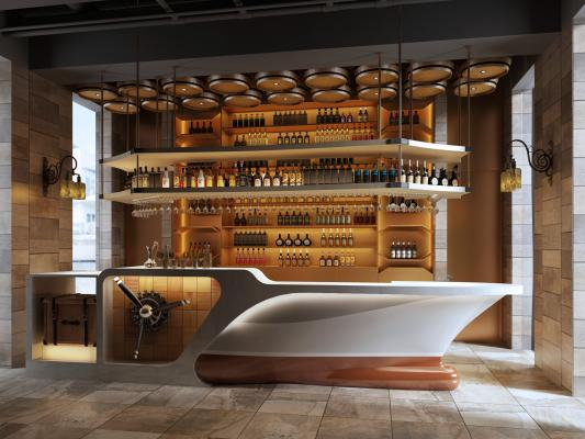 工業風格輪船酒吧台