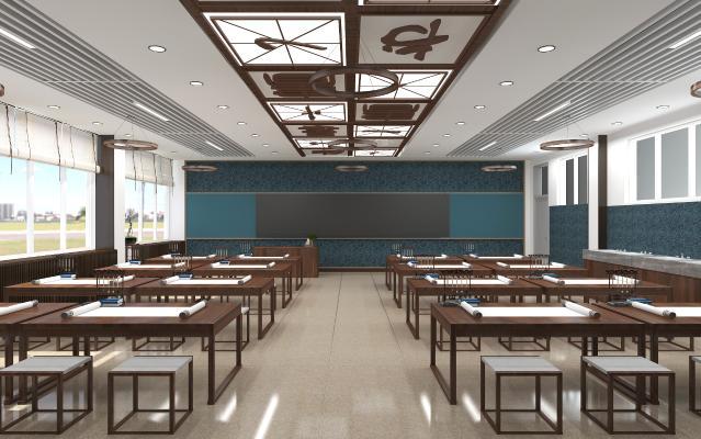 新中式书法教室 吸顶灯 桌椅