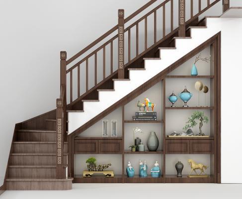 新中式楼梯 储物柜组合