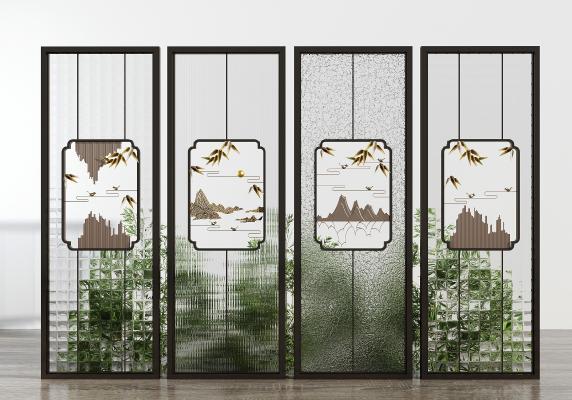 新中式玻璃屏風 隔斷