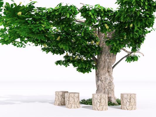 现代截断树 花园休闲树 树桩凳子