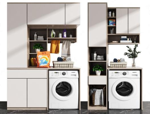现代阳台柜 洗衣机组合
