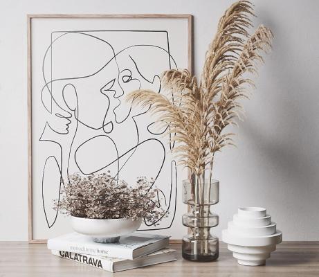 现代干花 饰品摆件组合