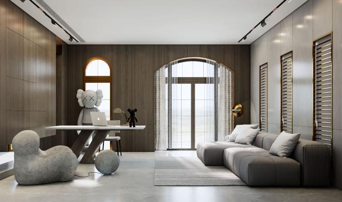 現代簡約客廳 書房 沙發 茶幾 書桌椅組合