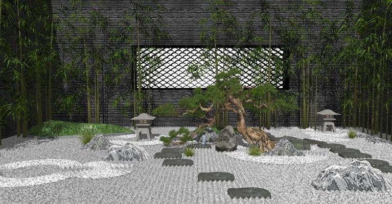 中式庭院景觀 枯山水 松樹