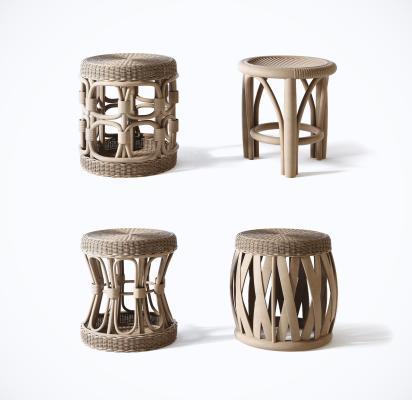 现代藤编凳子 椅子