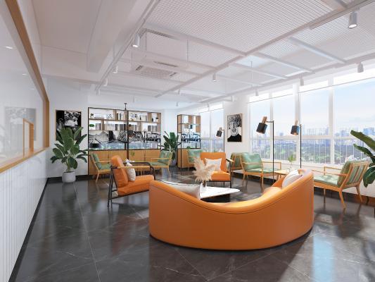 现代奶茶咖啡店 吊灯 沙发