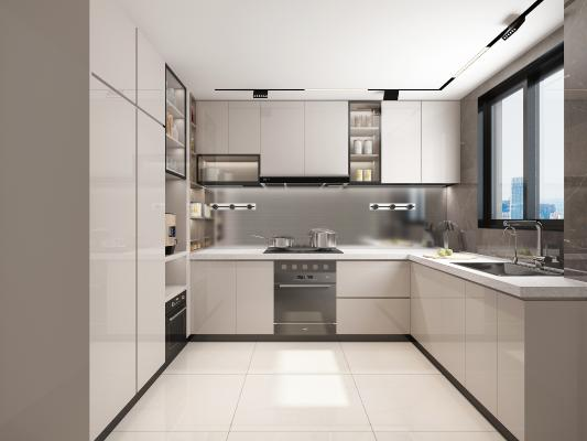 现代简约厨房 橱柜 厨具