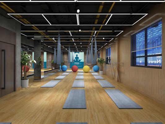工业风瑜伽室 动感单车 跳操区