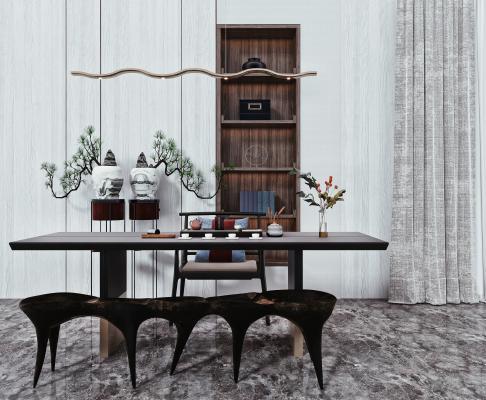 现代茶桌椅 泡茶桌椅 吊灯