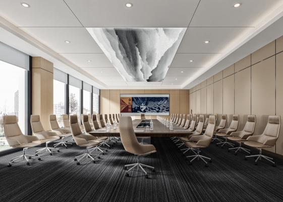 现代多功能会议室 会议桌 办公椅