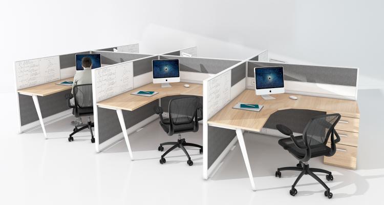 现代办公桌 班台 工位 桌椅 桌 办公室 办公 办公空间 员工位 办公室