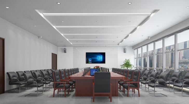 现代会议室报告厅 投影仪 会议桌椅