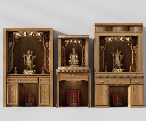 新中式佛龛 贡品条案 关公神位柜