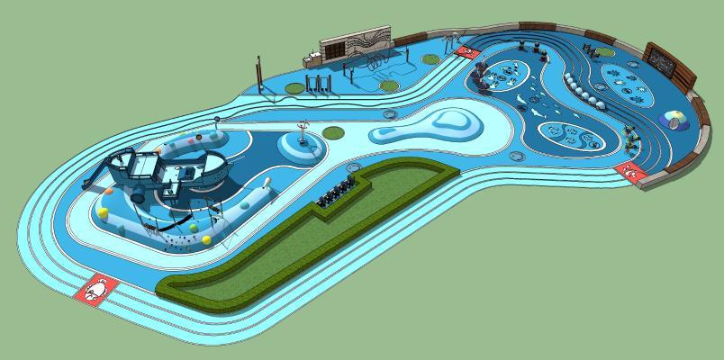 现代公园景观 儿童游乐场 公园娱乐设施 儿童乐园
