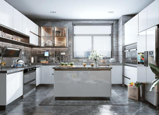 现代风格厨房 橱柜 集成灶