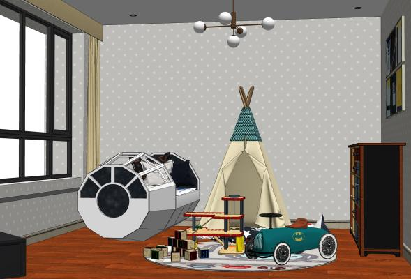 现代太空主题儿童房