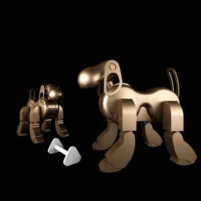 现代机械金属机器狗摆件