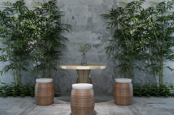 现代户外竹子 桌椅