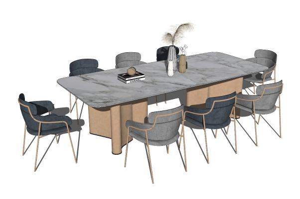 现代餐桌椅组合 摆件 八人桌