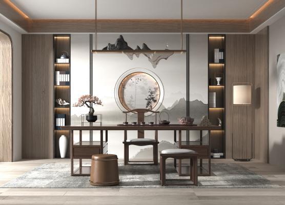 新中式书房 书桌椅
