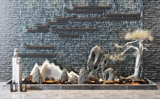 新中式假山景观 水景 小品