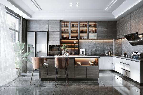 现代开放式厨房 电器 冰箱